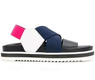 Pollini colour block platform sandals