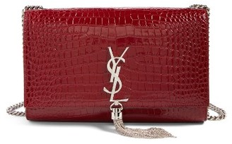 Saint Laurent Medium Kate Tassel Croc Embossed Calfskin Leather Crossbody Bag - Burgundy $2,450 thestylecure.com