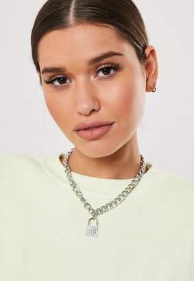 Missguided Silver Look Chunky Chain Rhinestone Padlock Necklace