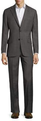 Hickey Freeman Gridded Wool Suit