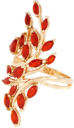 Fire Opal Bold Leaf Design Ring, 14K, 1.00 cttw