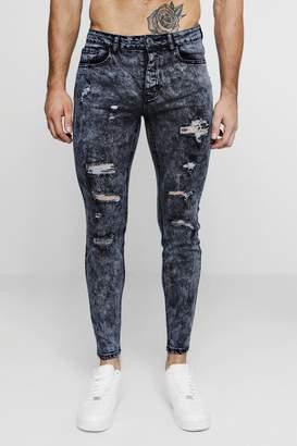 BoohooMAN Super Skinny Acid Wash Ripped Jeans