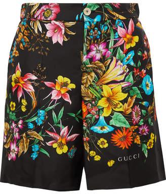 Gucci Floral-print Silk-twill Shorts - Black