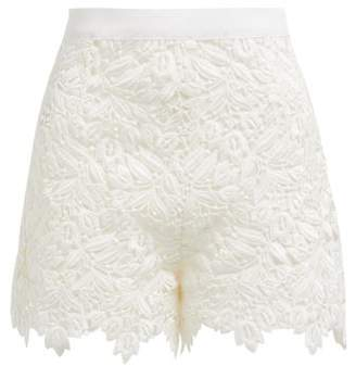 Giambattista Valli High Rise Guipure Lace Cotton Blend Shorts - Womens - Ivory