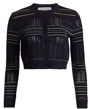 Carolina Herrera Women's Striped Cropped Cardigan Sweater