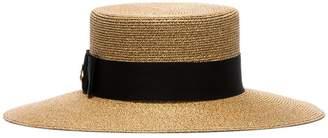 Gucci gold metallic bee motif straw hat