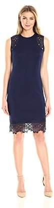 Donna Ricco Women's Lace Overlay Extended Shoulder Sleeve Sheath