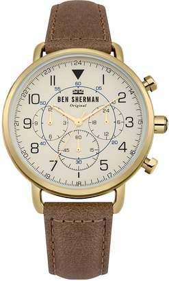 Ben Sherman Men's 'Portobello Military' Quartz Gold-Tone and Leather Casual Watch, Color Brown (Model: WB068WT)