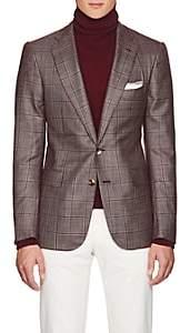 Cifonelli Men's Montecarlo Checked Silk-Cashmere Two-Button Sportcoat - Burgundy