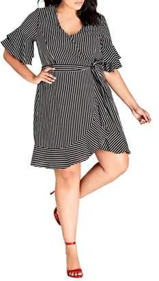 City Chic Chenelle Stripe Wrap Dress
