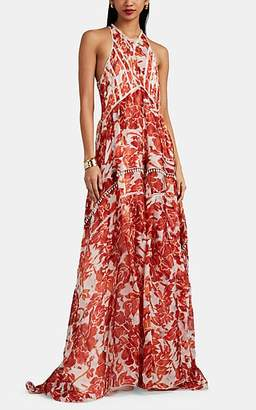 Altuzarra Women's Bellini Embellished Floral Silk Gown - Red