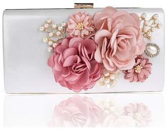 KEDERA Women Rose Pure Color Handbag Evening Cocktail Wedding Party Handbag Clutch