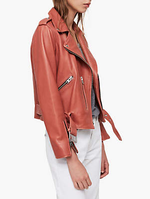 AllSaints Balfern Leather Biker Jacket, Vintage Pink