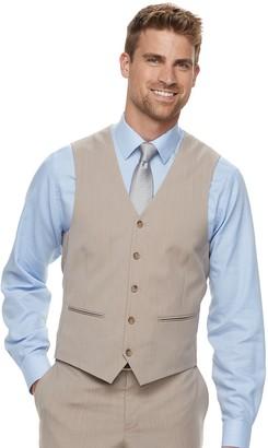 Savile Row Men's Modern-Fit Striped Tan Suit Vest