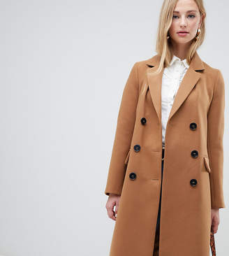 Warehouse double breasted coat in camel