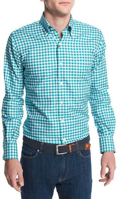Peter Millar Check Long-Sleeve Oxford Shirt $125 thestylecure.com