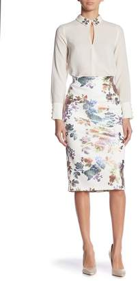 ECI Foil Patterned Scuba Pencil Skirt