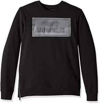 GUESS Men's Long Sleeve Logan Coated Crew Neck Shirt