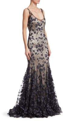 Badgley Mischka Slip Lace Gown