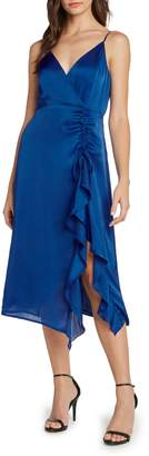 Willow & Clay Ruched Satin Midi Dress