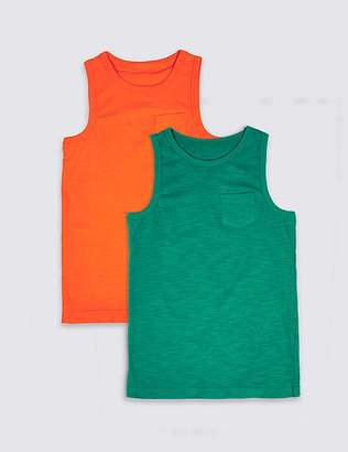 Marks and Spencer 2 Pack Pure Cotton Vest Tops (3-16 Years)