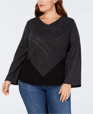 Style&Co. Style & Co Plus Size V-Neck Mixed-Stitch Sweater