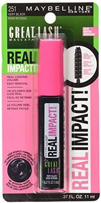 Maybelline New York Great Lash Real Impact Washable Mascara, Very Black, 0.37 Fluid Ounce , (Pack of 2) by