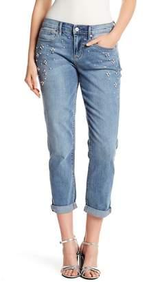 Nicole Miller Boyfriend Roll Cuff Embellished Jeans