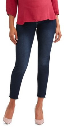 0c7d1a3c90 Oh! Mamma Maternity Demi Panel Frayed Hem Skinny Jean - Available in Plus  Sizes
