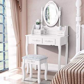 Mecor Dressing Table with Oval Mirror