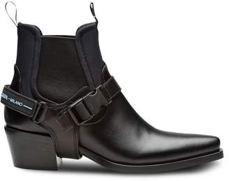 Prada Leather and neoprene booties