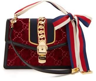 Gucci Sylvie Small Velvet Shoulder Bag - Womens - Burgundy