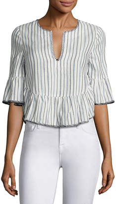 BCBGMAXAZRIA Striped Ruffled Bell Sleeves Cropped Top