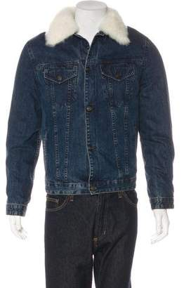 Yves Salomon Shearling-Trimmed Denim Jacket w/ Tags