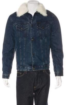 Yves Salomon Shearling-Trimmed Denim Jacket w/ Tags
