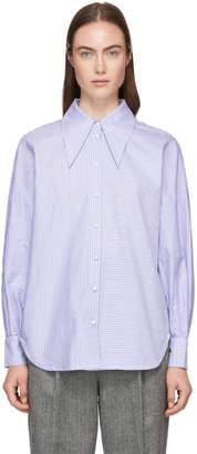 Tibi Blue Striped Oxford Oversized Shirt