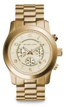 Michael Kors Runway Goldtone Stainless Steel Chronograph Bracelet Watch