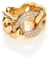 Roberto Coin Gourmette Diamond& 18K Yellow Gold Chain Ring
