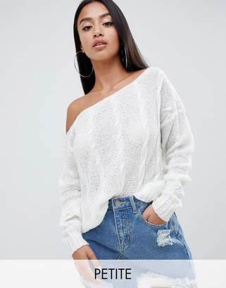 Missguided Petite Off Shoulder Cable Knit Jumper