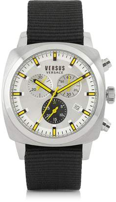 Versace Versus Riverdale Silver Tone Stainless Steel and Canvas Strap Men's Watch
