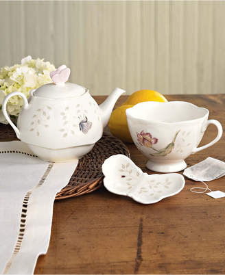 """Lenox Butterfly Meadow"""" Stackable Tea Set with Bag Holder"""