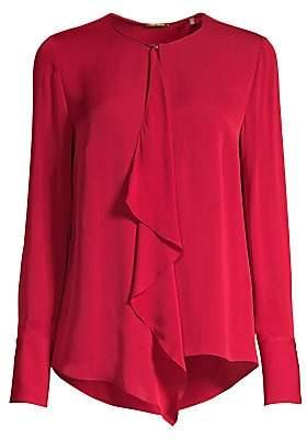 Elie Tahari Women's Pernilla Ruffle Front Silk Blouse