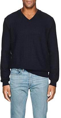 Barneys New York Men's Textured-Knit Cotton V-Neck Sweater
