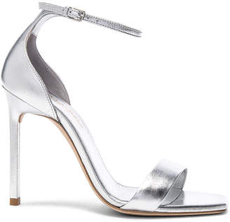 Saint Laurent Metallic Leather Amber Ankle Strap Heels