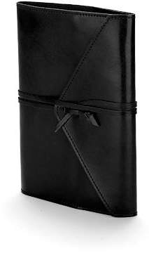 Aspinal of London Envelope Wrap A5 Refillable Leather Journal In Black