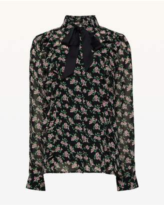 Juicy Couture Ditsy Falling Azalea Tie Front Top