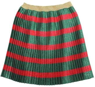 Gucci Striped Plisse Silk & Lurex Skirt
