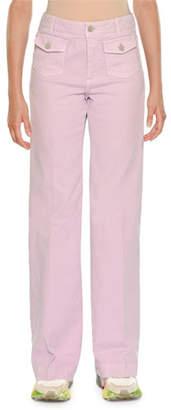 Stella McCartney High-Waist Coin-Pockets Wide-Leg Denim Pants