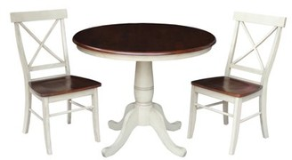 "INC International Concepts 36"" Round Dining Table with 2 X-back Chairs in Antiqued Almond/Espresso - 3 Piece Set"