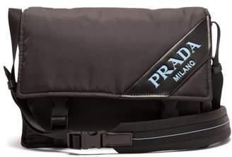 Prada Logo Nylon Messenger Bag - Womens - Black